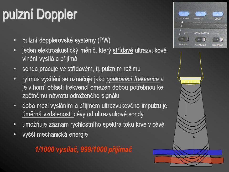 pulzní Doppler pulzní dopplerovské systémy (PW) jeden elektroakustický měnič, který střídavě ultrazvukové vlnění vysílá a přijímá sonda pracuje ve stř