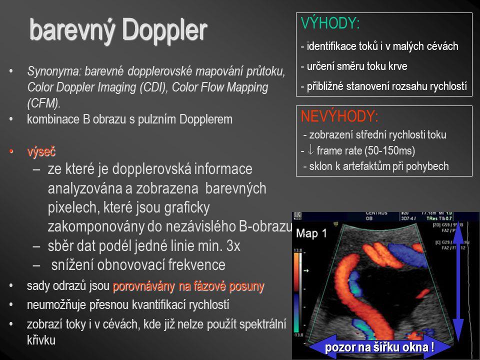 barevný Doppler Synonyma: barevné dopplerovské mapování průtoku, Color Doppler Imaging (CDI), Color Flow Mapping (CFM). kombinace B obrazu s pulzním D