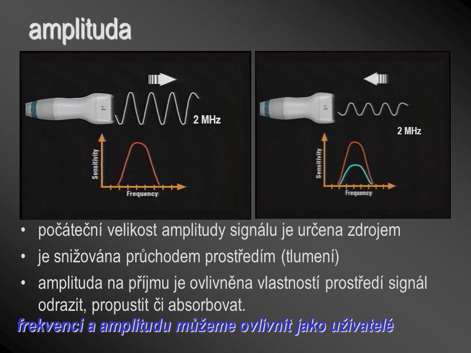 amplituda 2 MHz počáteční velikost amplitudy signálu je určena zdrojem je snižována průchodem prostředím (tlumení) amplituda na příjmu je ovlivněna vl
