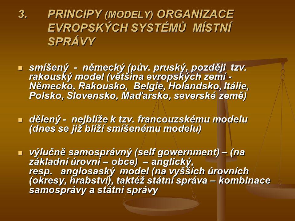 3. PRINCIPY (MODELY) ORGANIZACE EVROPSKÝCH SYSTÉMŮ MÍSTNÍ SPRÁVY smíšený - německý (pův. pruský, později tzv. rakouský model (většina evropských zemí