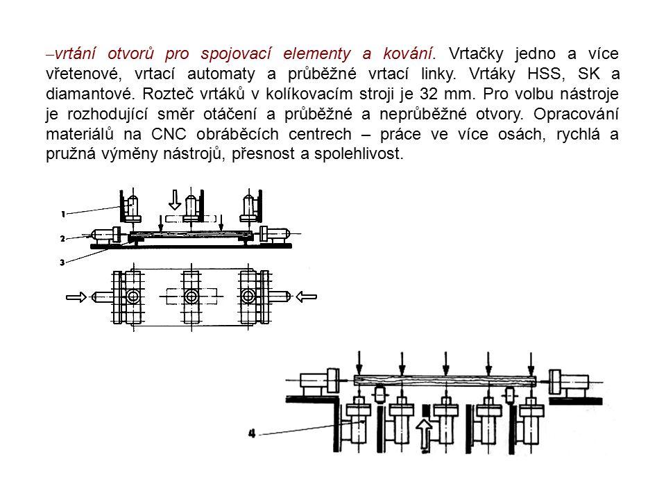 – vrtání otvorů pro spojovací elementy a kování. Vrtačky jedno a více vřetenové, vrtací automaty a průběžné vrtací linky. Vrtáky HSS, SK a diamantové.