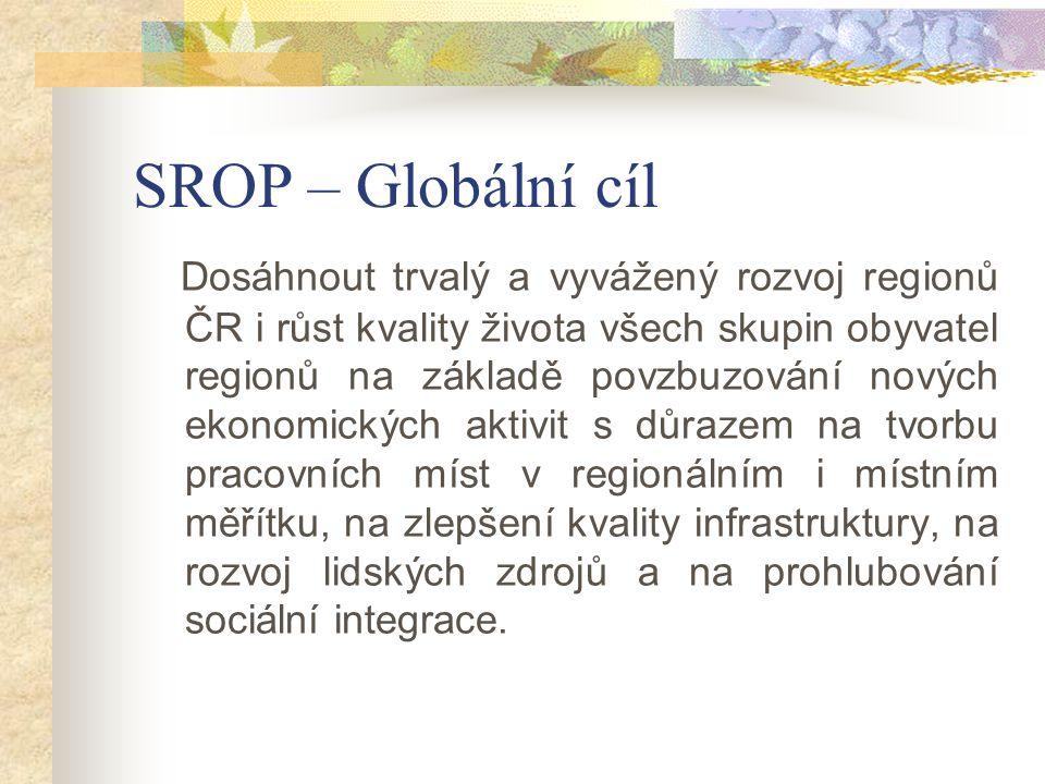 SROP – Globální cíl Dosáhnout trvalý a vyvážený rozvoj regionů ČR i růst kvality života všech skupin obyvatel regionů na základě povzbuzování nových ekonomických aktivit s důrazem na tvorbu pracovních míst v regionálním i místním měřítku, na zlepšení kvality infrastruktury, na rozvoj lidských zdrojů a na prohlubování sociální integrace.