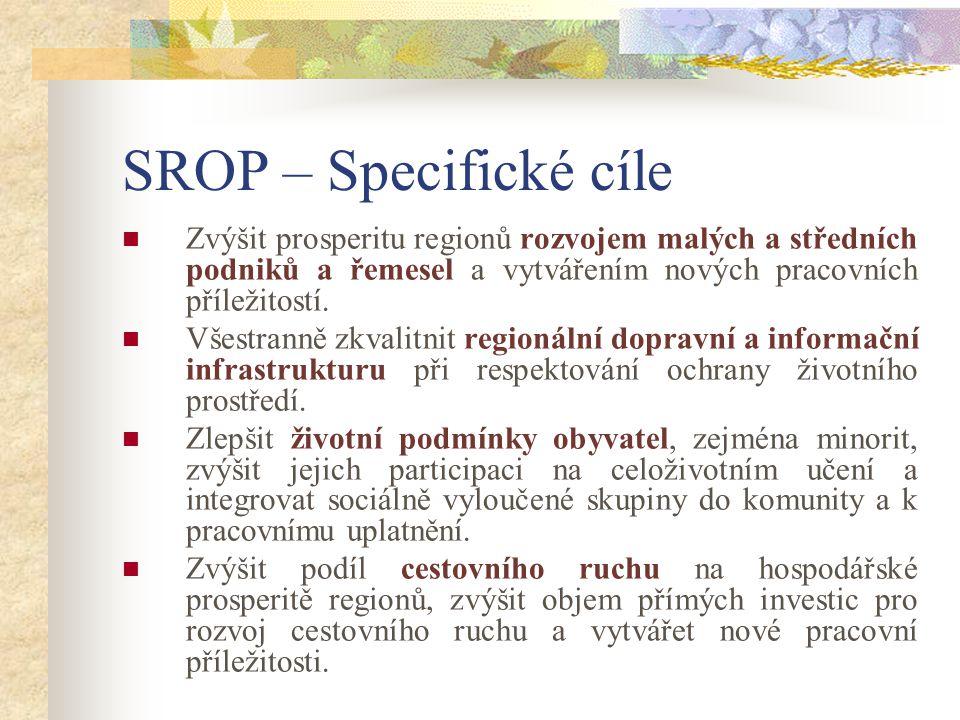 SROP – Specifické cíle Zvýšit prosperitu regionů rozvojem malých a středních podniků a řemesel a vytvářením nových pracovních příležitostí.