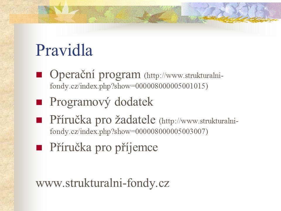 Pravidla Operační program (http://www.strukturalni- fondy.cz/index.php show=000008000005001015) Programový dodatek Příručka pro žadatele (http://www.strukturalni- fondy.cz/index.php show=000008000005003007) Příručka pro příjemce www.strukturalni-fondy.cz