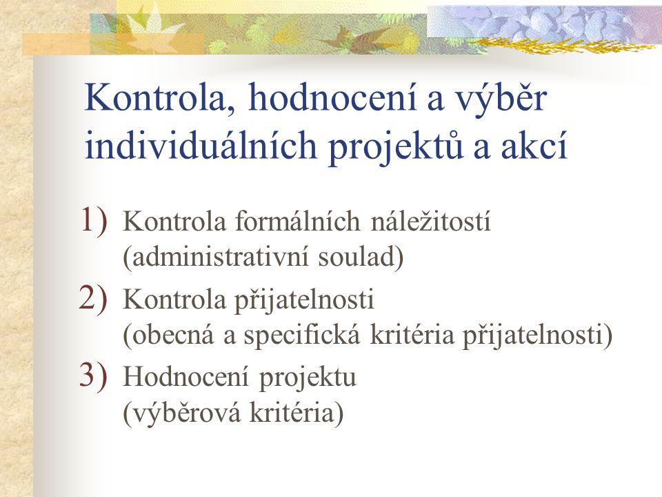 Kontrola, hodnocení a výběr individuálních projektů a akcí 1) Kontrola formálních náležitostí (administrativní soulad) 2) Kontrola přijatelnosti (obecná a specifická kritéria přijatelnosti) 3) Hodnocení projektu (výběrová kritéria)
