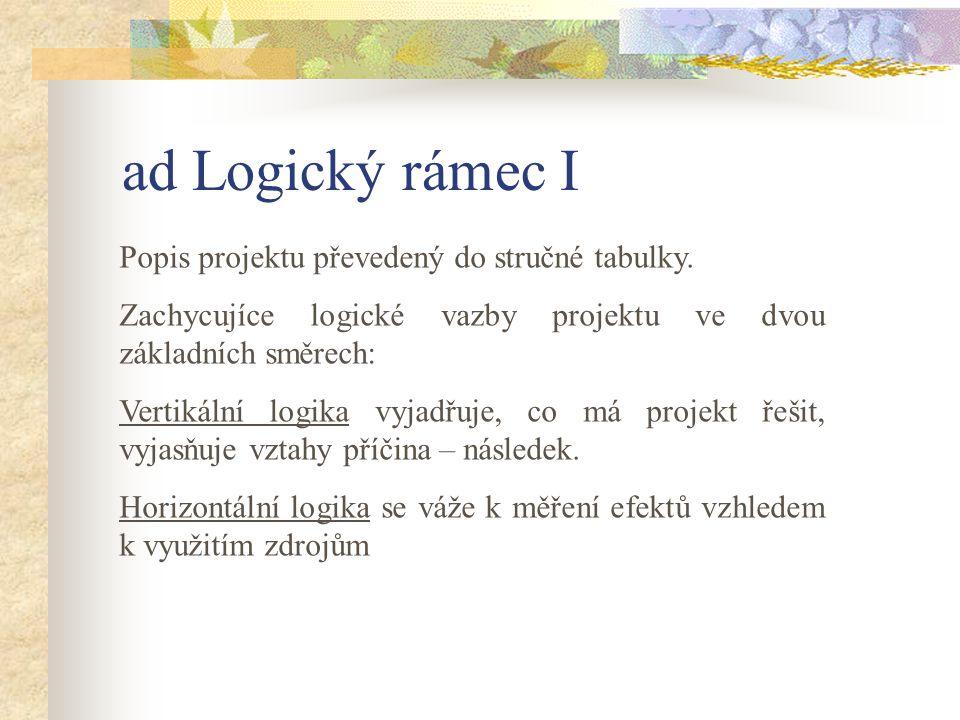 ad Logický rámec I Popis projektu převedený do stručné tabulky.