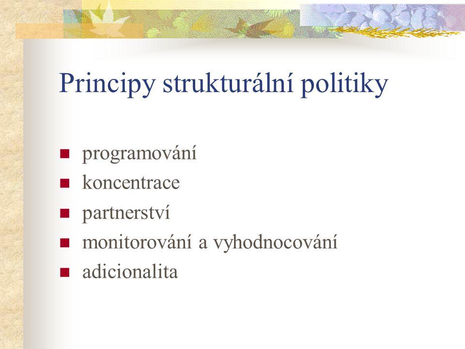 Programovací procedury Vícestupňový systém (Cíl 1): - Plán rozvoje (v ČR Národní rozvojový plán) - Rámec podpory společenství - Operační programy Jednostupňový systém (Cíl 2 a 3): - Jednotný programový dokument