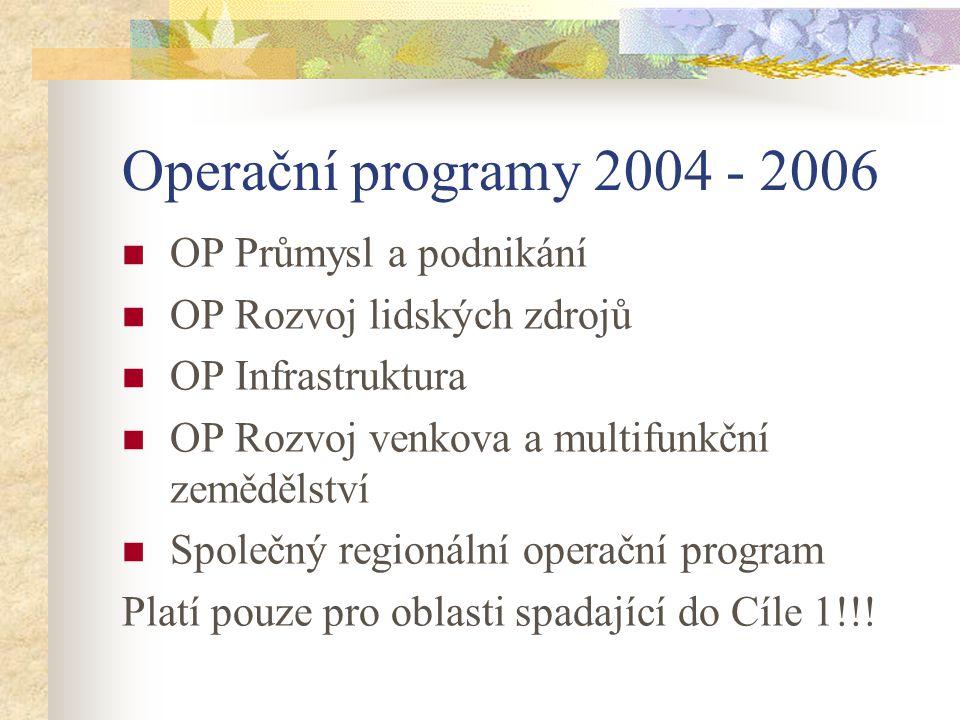 Operační programy 2004 - 2006 OP Průmysl a podnikání OP Rozvoj lidských zdrojů OP Infrastruktura OP Rozvoj venkova a multifunkční zemědělství Společný regionální operační program Platí pouze pro oblasti spadající do Cíle 1!!!