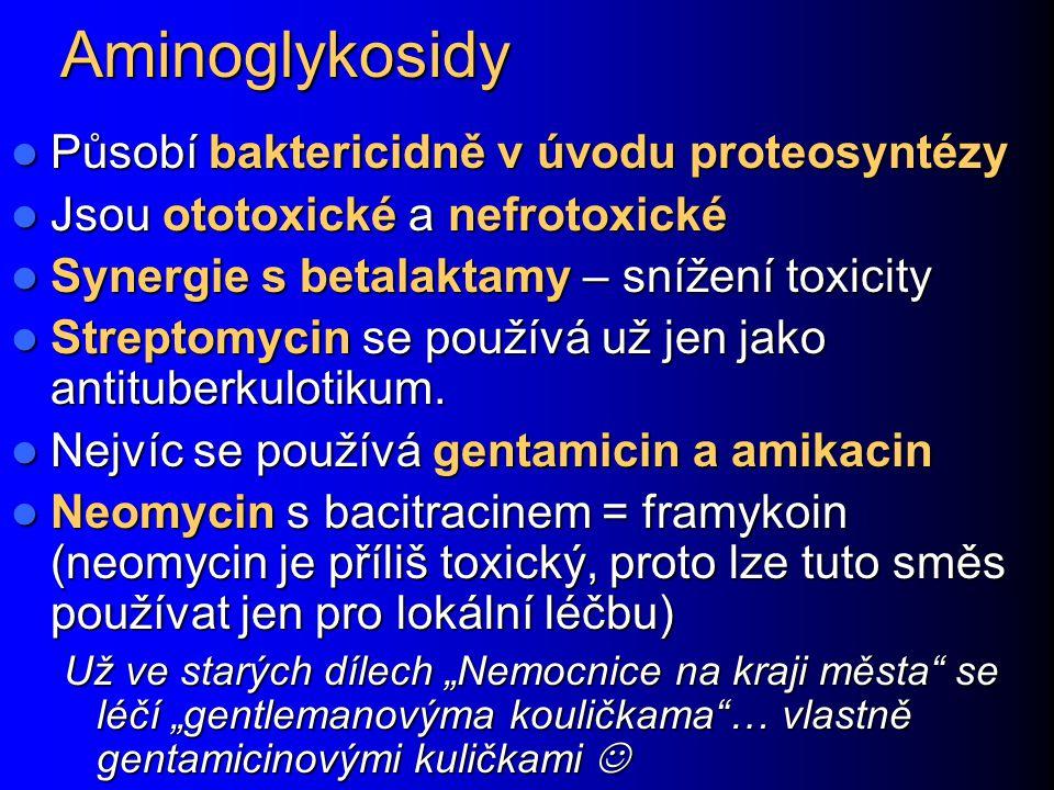 Aminoglykosidy Působí baktericidně v úvodu proteosyntézy Působí baktericidně v úvodu proteosyntézy Jsou ototoxické a nefrotoxické Jsou ototoxické a ne