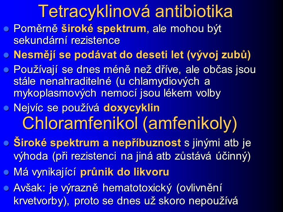 Tetracyklinová antibiotika Poměrně široké spektrum, ale mohou být sekundární rezistence Poměrně široké spektrum, ale mohou být sekundární rezistence N