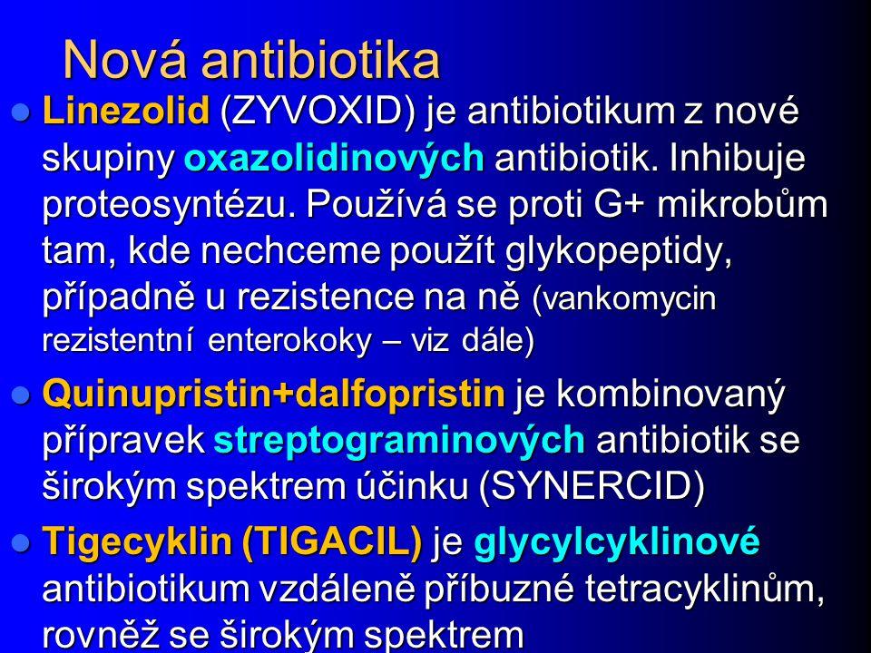 Nová antibiotika Linezolid (ZYVOXID) je antibiotikum z nové skupiny oxazolidinových antibiotik. Inhibuje proteosyntézu. Používá se proti G+ mikrobům t