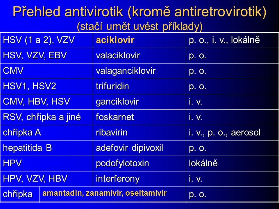 Přehled antivirotik (kromě antiretrovirotik) (stačí umět uvést příklady) HSV (1 a 2), VZV aciklovir p. o., i. v., lokálně HSV, VZV, EBV valaciklovir p
