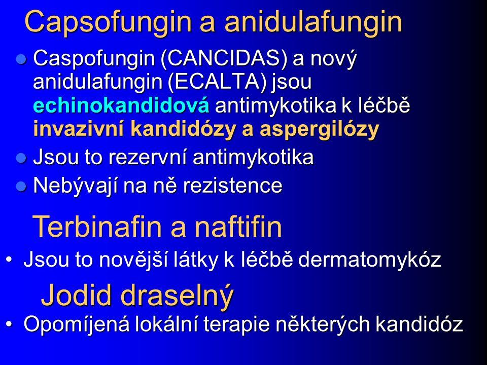 Capsofungin a anidulafungin Caspofungin (CANCIDAS) a nový anidulafungin (ECALTA) jsou echinokandidová antimykotika k léčbě invazivní kandidózy a asper