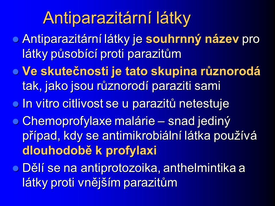 Antiparazitární látky Antiparazitární látky je souhrnný název pro látky působící proti parazitům Antiparazitární látky je souhrnný název pro látky půs