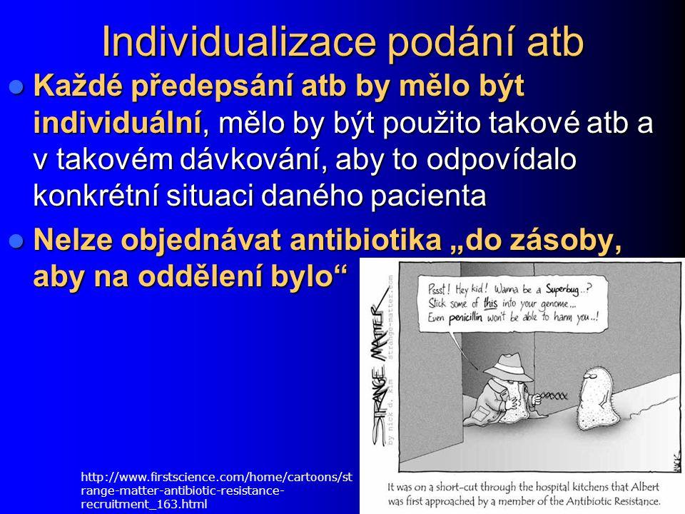Individualizace podání atb Každé předepsání atb by mělo být individuální, mělo by být použito takové atb a v takovém dávkování, aby to odpovídalo konk