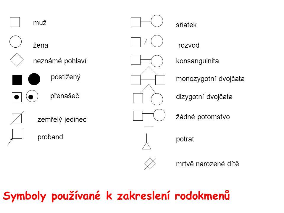 sňatek rozvod konsanguinita monozygotní dvojčata dizygotní dvojčata žádné potomstvo potrat mrtvě narozené dítě muž žena postižený neznámé pohlaví přen