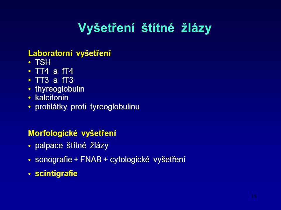 18 Vyšetření štítné žlázy Laboratorní vyšetření TSH TT4 a fT4 TT3 a fT3 thyreoglobulin kalcitonin protilátky proti tyreoglobulinu Morfologické vyšetření palpace štítné žlázy sonografie + FNAB + cytologické vyšetření scintigrafie