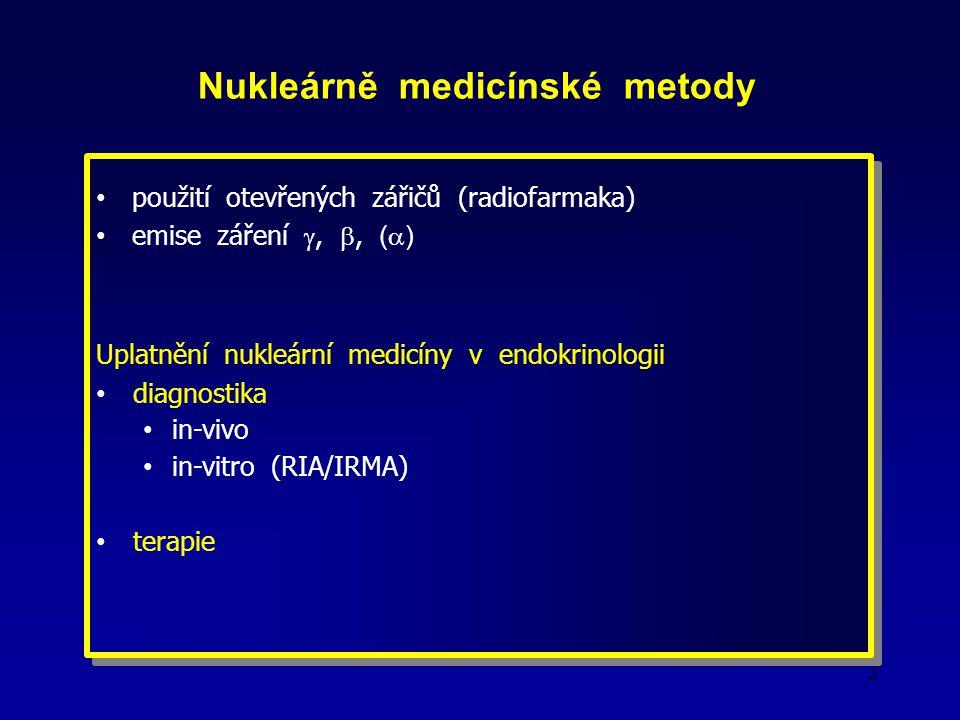 2 Nukleárně medicínské metody použití otevřených zářičů (radiofarmaka) emise záření , , (  ) Uplatnění nukleární medicíny v endokrinologii diagnostika in-vivo in-vitro (RIA/IRMA) terapie použití otevřených zářičů (radiofarmaka) emise záření , , (  ) Uplatnění nukleární medicíny v endokrinologii diagnostika in-vivo in-vitro (RIA/IRMA) terapie