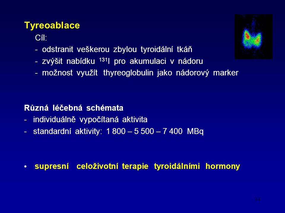 34 Tyreoablace Cíl: - odstranit veškerou zbylou tyroidální tkáň - zvýšit nabídku 131 I pro akumulaci v nádoru - možnost využít thyreoglobulin jako nádorový marker Různá léčebná schémata - individuálně vypočítaná aktivita - standardní aktivity: 1 800 – 5 500 – 7 400 MBq supresní celoživotní terapie tyroidálními hormony