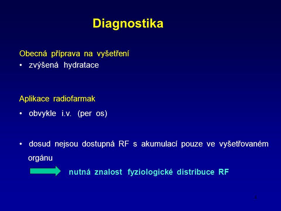 4 Diagnostika Obecná příprava na vyšetření zvýšená hydratace Aplikace radiofarmak obvykle i.v.