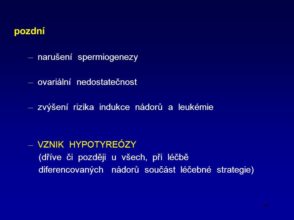 45 pozdní – narušení spermiogenezy – ovariální nedostatečnost – zvýšení rizika indukce nádorů a leukémie – VZNIK HYPOTYREÓZY (dříve či později u všech, při léčbě diferencovaných nádorů součást léčebné strategie)