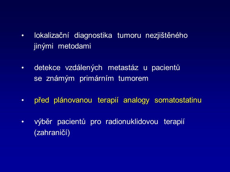 lokalizační diagnostika tumoru nezjištěného jinými metodami detekce vzdálených metastáz u pacientů se známým primárním tumorem před plánovanou terapií analogy somatostatinu výběr pacientů pro radionuklidovou terapií (zahraničí)