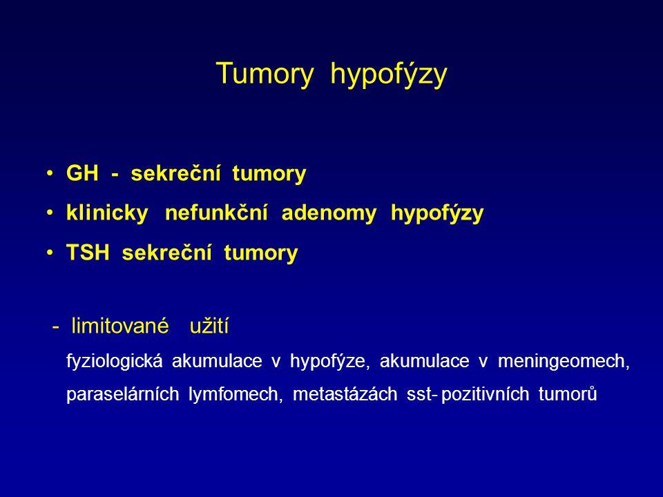 Tumory hypofýzy GH - sekreční tumory klinicky nefunkční adenomy hypofýzy TSH sekreční tumory - limitované užití fyziologická akumulace v hypofýze, akumulace v meningeomech, paraselárních lymfomech, metastázách sst- pozitivních tumorů