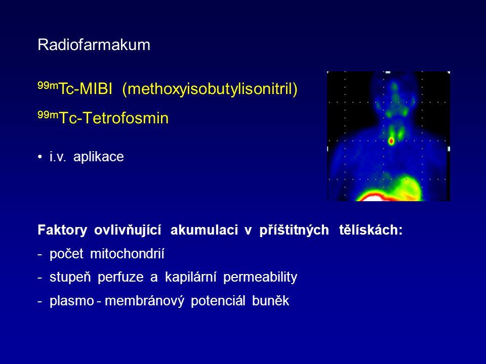 Faktory ovlivňující akumulaci v příštitných tělískách: - počet mitochondrií - stupeň perfuze a kapilární permeability - plasmo - membránový potenciál buněk Radiofarmakum 99m Tc-MIBI (methoxyisobutylisonitril) 99m Tc-Tetrofosmin i.v.