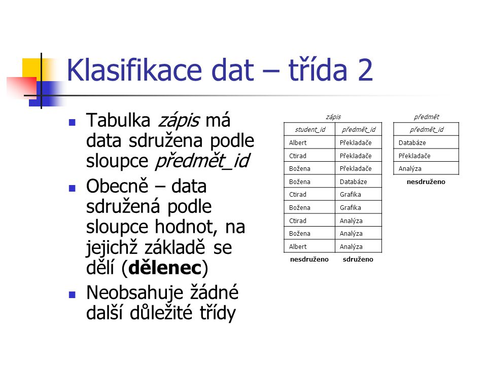 Klasifikace dat – třída 2 Tabulka zápis má data sdružena podle sloupce předmět_id Obecně – data sdružená podle sloupce hodnot, na jejichž základě se dělí (dělenec) Neobsahuje žádné další důležité třídy předmět předmět_id Databáze Překladače Analýza nesdruženo zápis student_idpředmět_id AlbertPřekladače CtiradPřekladače BoženaPřekladače BoženaDatabáze CtiradGrafika BoženaGrafika CtiradAnalýza BoženaAnalýza AlbertAnalýza nesdruženosdruženo