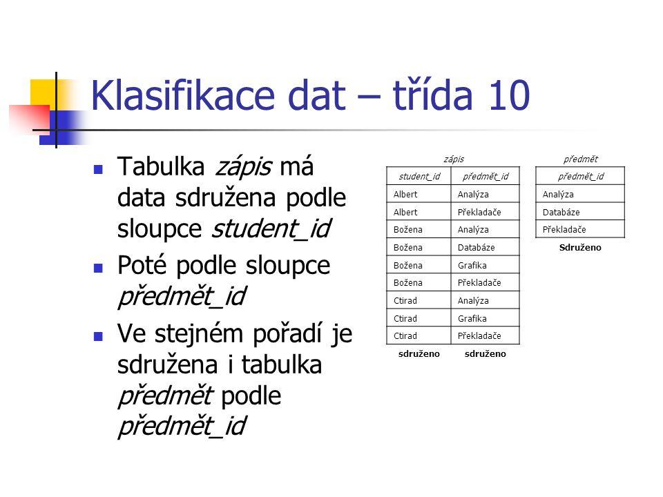 Klasifikace dat – třída 10 Tabulka zápis má data sdružena podle sloupce student_id Poté podle sloupce předmět_id Ve stejném pořadí je sdružena i tabul
