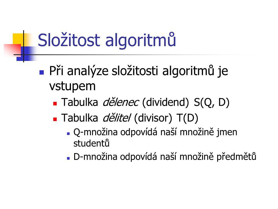 Složitost algoritmů Při analýze složitosti algoritmů je vstupem Tabulka dělenec (dividend) S(Q, D) Tabulka dělitel (divisor) T(D) Q-množina odpovídá naší množině jmen studentů D-množina odpovídá naší množině předmětů