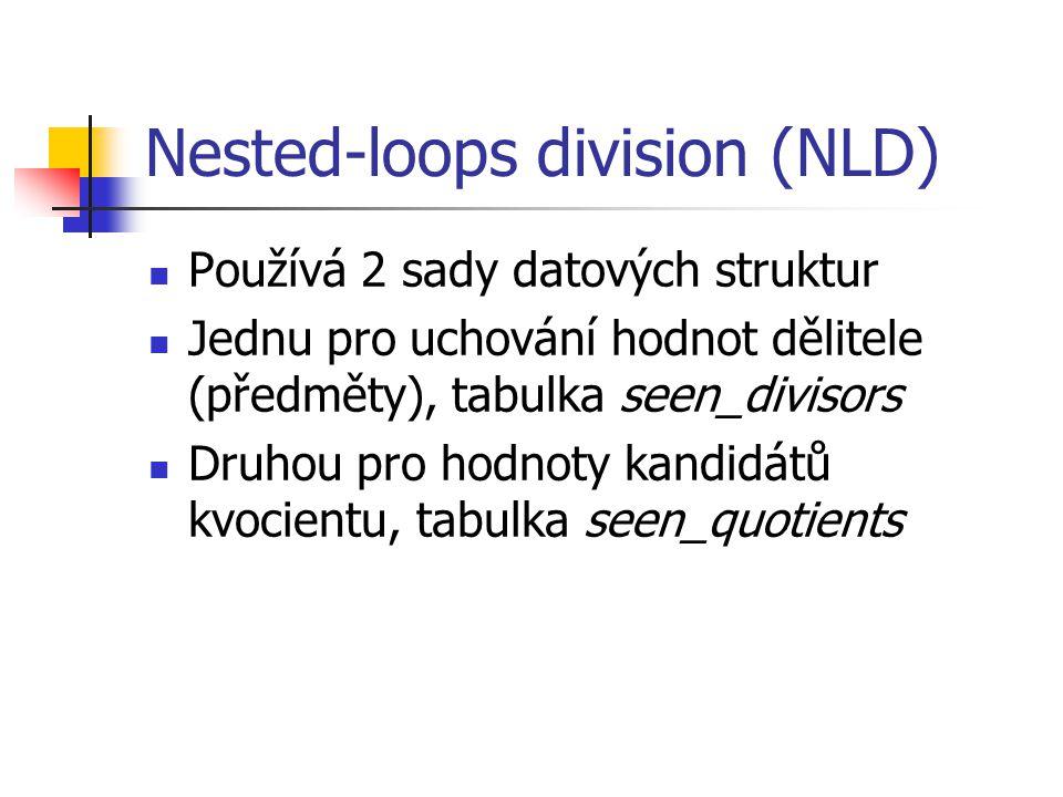Nested-loops division (NLD) Používá 2 sady datových struktur Jednu pro uchování hodnot dělitele (předměty), tabulka seen_divisors Druhou pro hodnoty kandidátů kvocientu, tabulka seen_quotients