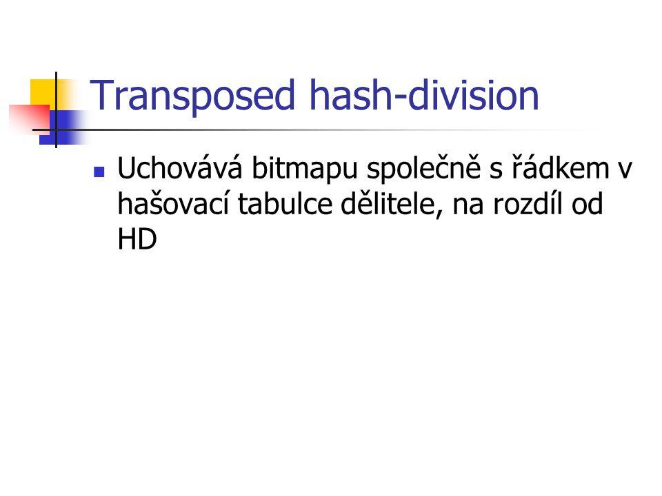 Transposed hash-division Uchovává bitmapu společně s řádkem v hašovací tabulce dělitele, na rozdíl od HD