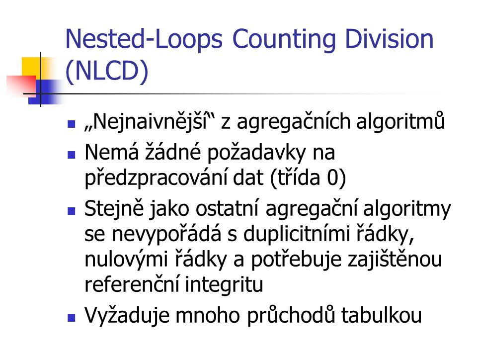 """Nested-Loops Counting Division (NLCD) """"Nejnaivnější z agregačních algoritmů Nemá žádné požadavky na předzpracování dat (třída 0) Stejně jako ostatní agregační algoritmy se nevypořádá s duplicitními řádky, nulovými řádky a potřebuje zajištěnou referenční integritu Vyžaduje mnoho průchodů tabulkou"""