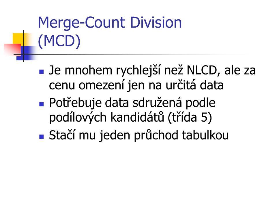 Merge-Count Division (MCD) Je mnohem rychlejší než NLCD, ale za cenu omezení jen na určitá data Potřebuje data sdružená podle podílových kandidátů (třída 5) Stačí mu jeden průchod tabulkou