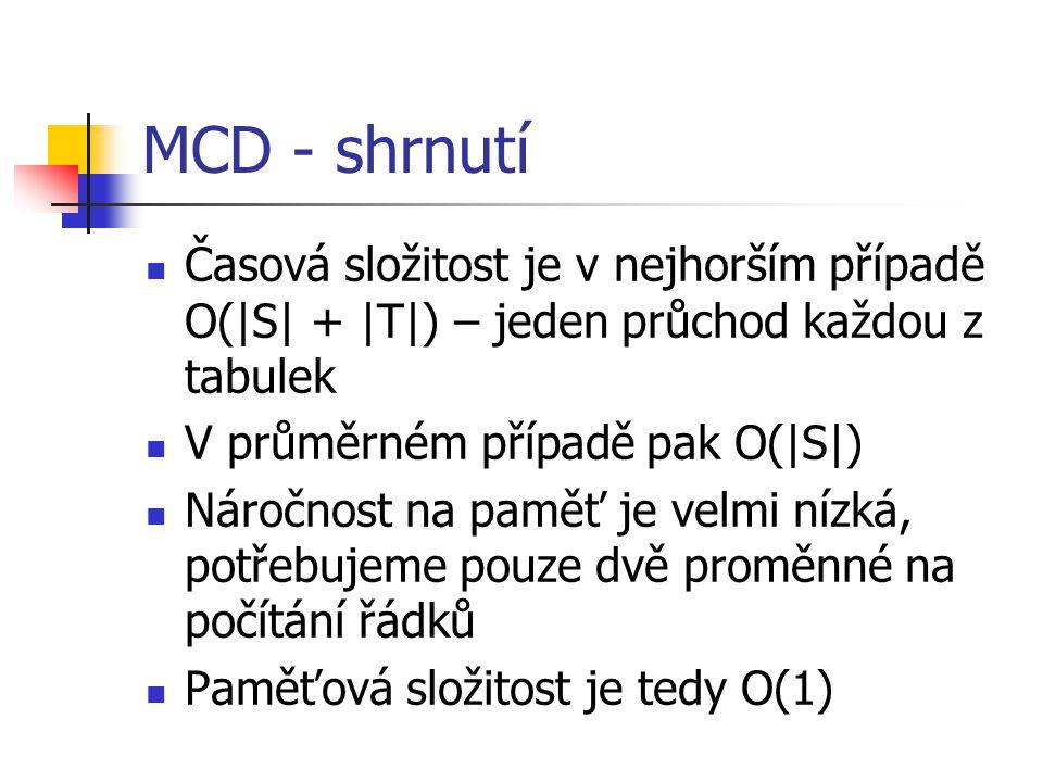MCD - shrnutí Časová složitost je v nejhorším případě O(|S| + |T|) – jeden průchod každou z tabulek V průměrném případě pak O(|S|) Náročnost na paměť je velmi nízká, potřebujeme pouze dvě proměnné na počítání řádků Paměťová složitost je tedy O(1)
