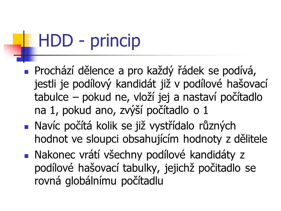 HDD - princip Prochází dělence a pro každý řádek se podívá, jestli je podílový kandidát již v podílové hašovací tabulce – pokud ne, vloží jej a nastaví počítadlo na 1, pokud ano, zvýší počítadlo o 1 Navíc počítá kolik se již vystřídalo různých hodnot ve sloupci obsahujícím hodnoty z dělitele Nakonec vrátí všechny podílové kandidáty z podílové hašovací tabulky, jejichž počitadlo se rovná globálnímu počítadlu