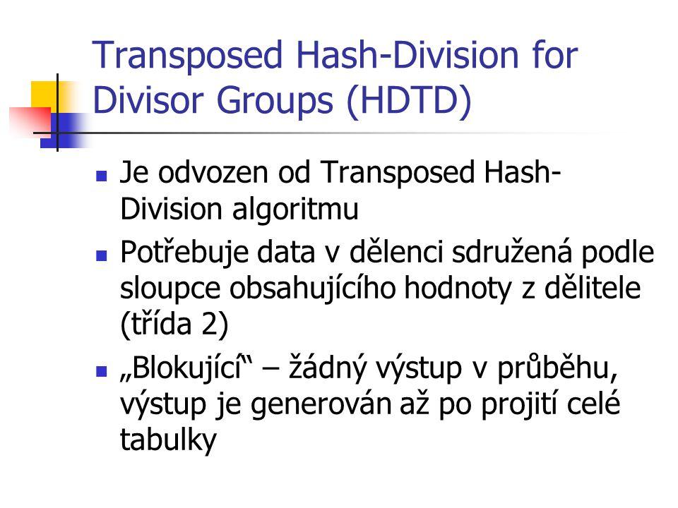"""Transposed Hash-Division for Divisor Groups (HDTD) Je odvozen od Transposed Hash- Division algoritmu Potřebuje data v dělenci sdružená podle sloupce obsahujícího hodnoty z dělitele (třída 2) """"Blokující – žádný výstup v průběhu, výstup je generován až po projití celé tabulky"""