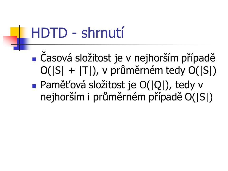 HDTD - shrnutí Časová složitost je v nejhorším případě O(|S| + |T|), v průměrném tedy O(|S|) Paměťová složitost je O(|Q|), tedy v nejhorším i průměrné