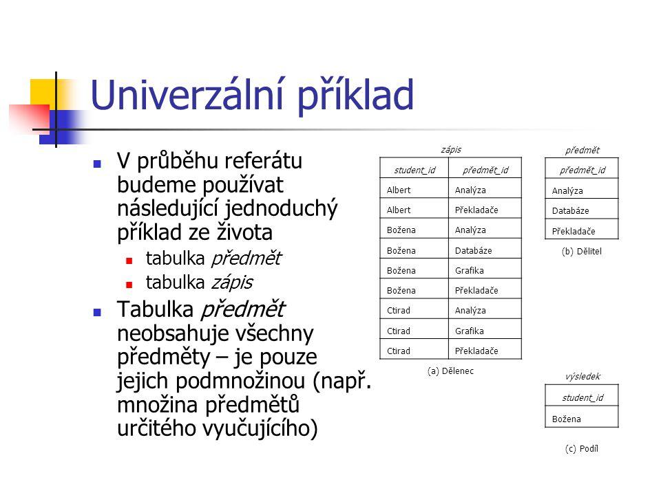 Univerzální příklad V průběhu referátu budeme používat následující jednoduchý příklad ze života tabulka předmět tabulka zápis Tabulka předmět neobsahu