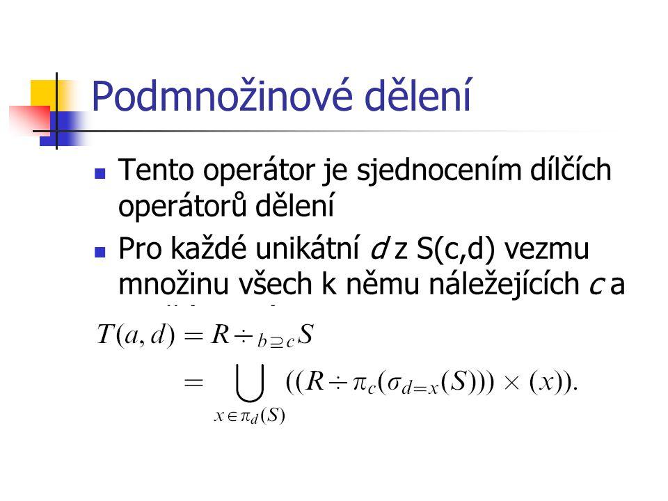 Podmnožinové dělení Tento operátor je sjednocením dílčích operátorů dělení Pro každé unikátní d z S(c,d) vezmu množinu všech k němu náležejících c a vydělím s ní R(a,b)