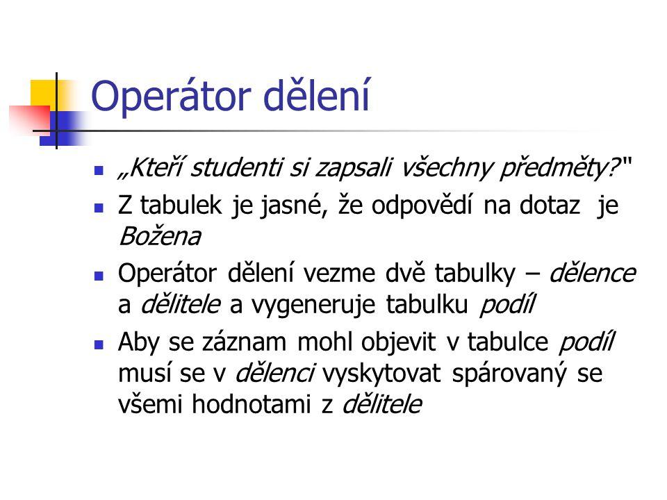 """Univerzální kvantifikátor v SQL Užití """"NOT EXISTS SELECT DISTINCT student_id FROM zapis AS z1 WHERE NOT EXISTS ( SELECT * FROM predmet AS p WHERE NOT EXISTS ( SELECT * FROM zapis AS z2 WHERE z2.student_id = z1.student_id AND z2.predmet_id = p.predmet_id)) Co vyjadřuje select?"""