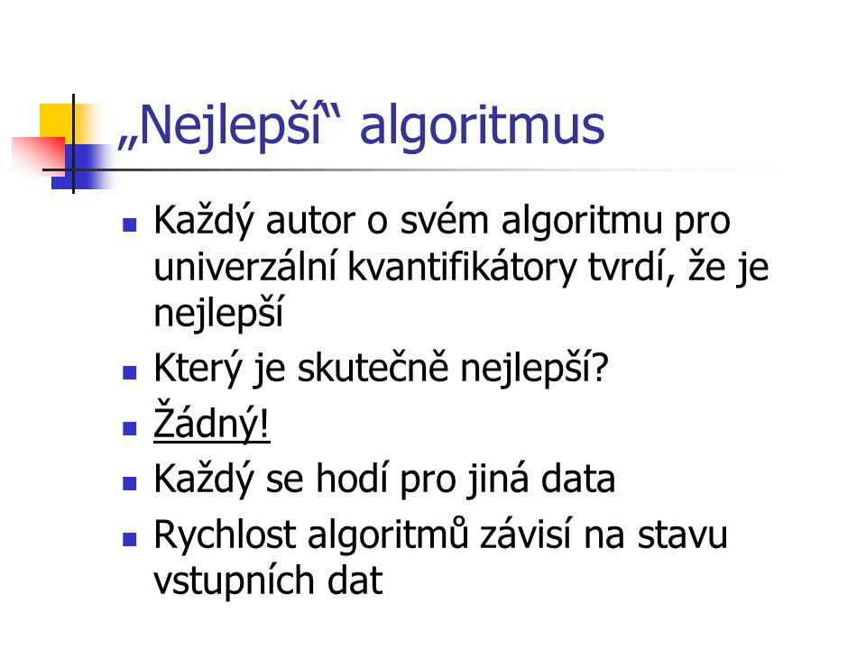 SJD - příklad zapis.next(); dpocet1 = 1; delitel = zapis.predmet_id; while not zapis.isEmpty() and delitel == zapis.predmet_id do begin insert (zapis.student_id, 0) into podilhashtable; zapis.next(); end; while not zapis.isEmpty() do begin if delitel != zapis.predmet_id then begin dpocet1++; podilhashtable.first(); while not podilhashtable.isEmpty() do begin if podilhashtable.value == 0 thenpodilhashtable.delete(); elsepodilhashtable.value = 0; podilhashtable.next(); end; podilhashtable(zapis.student_id).value = 1; zapis.next(); end; dpocet2 = 0; while not predmet.isEmpty() do begin dpocet2++; předmět.next(); end; podilhashtable.first(); if dpocet1 == dpocet2 then while not podilhashtable.isEmpty() do begin if podilhashtable.value == 1 then output podilhashtable.student_id; podilhashtable.next(); end;
