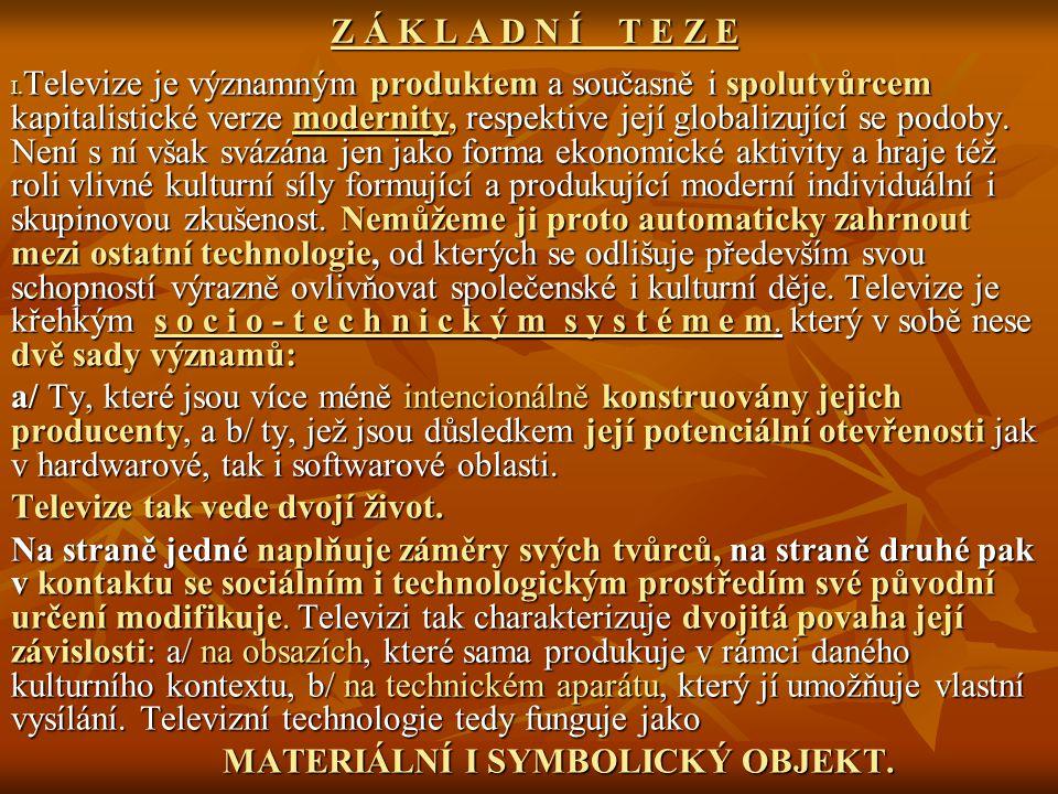 Z Á K L A D N Í T E Z E Z Á K L A D N Í T E Z E I. Televize je významným produktem a současně i spolutvůrcem kapitalistické verze modernity, respektiv