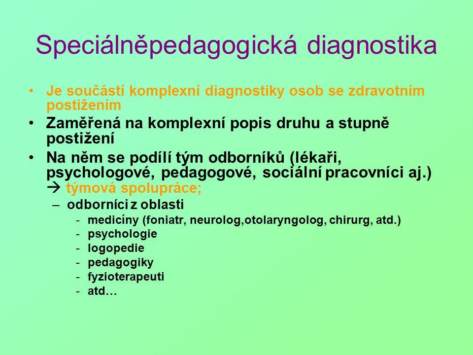 Speciálněpedagogická diagnostika Je součástí komplexní diagnostiky osob se zdravotním postižením Zaměřená na komplexní popis druhu a stupně postižení Na něm se podílí tým odborníků (lékaři, psychologové, pedagogové, sociální pracovníci aj.)  týmová spolupráce; –odborníci z oblasti -medicíny (foniatr, neurolog,otolaryngolog, chirurg, atd.) -psychologie -logopedie -pedagogiky -fyzioterapeuti -atd…