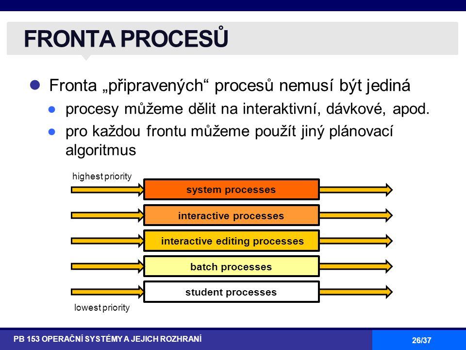 """26/37 Fronta """"připravených procesů nemusí být jediná ●procesy můžeme dělit na interaktivní, dávkové, apod."""