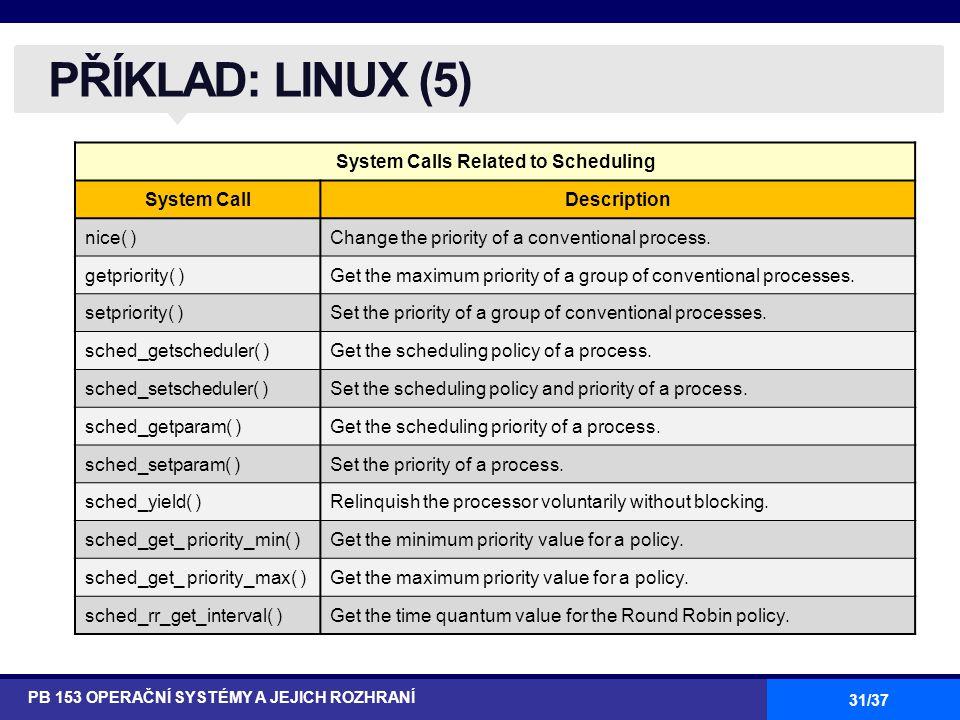 31/37 PŘÍKLAD: LINUX (5) PB 153 OPERAČNÍ SYSTÉMY A JEJICH ROZHRANÍ System Calls Related to Scheduling System CallDescription nice( )Change the priority of a conventional process.