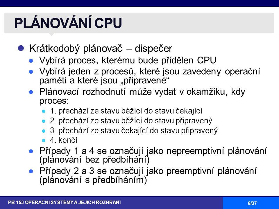 """6/37 Krátkodobý plánovač – dispečer ●Vybírá proces, kterému bude přidělen CPU ●Vybírá jeden z procesů, které jsou zavedeny operační paměti a které jsou """"připravené ●Plánovací rozhodnutí může vydat v okamžiku, kdy proces: ●1."""