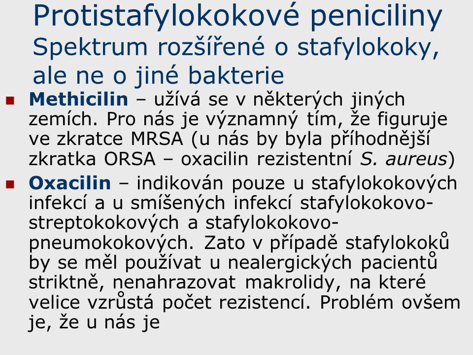 Protistafylokokové peniciliny Spektrum rozšířené o stafylokoky, ale ne o jiné bakterie Methicilin – užívá se v některých jiných zemích. Pro nás je výz