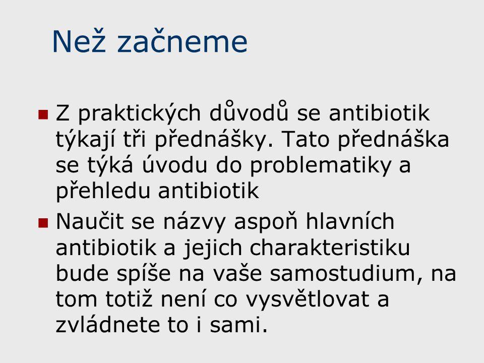 Než začneme Z praktických důvodů se antibiotik týkají tři přednášky. Tato přednáška se týká úvodu do problematiky a přehledu antibiotik Naučit se názv